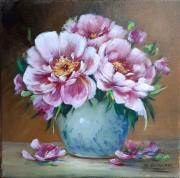 tableau fleurs pivoines galerie cre painting artiste fig porcelaine figuratif : Pivoines de juin