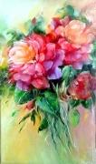 tableau fleurs flowers painting gal art figuratif peintu romantisme : Les roses colorées