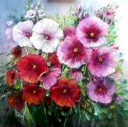 painting fleurs roses tremieres art vase gelerie creatio porcelaine figuratif mes oeuvres : Roses trémiéres