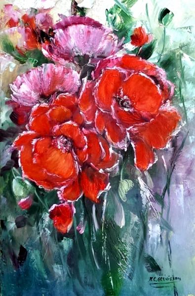 TABLEAU PEINTURE galerie creations ar painting artiste fig comtemporain art Fleurs Peinture a l'huile  - Coquelicots