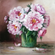 tableau fleurs : Les pivoines de l artiste