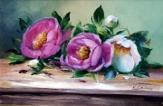 tableau fleurs galerie creation pei painting artiste fig comtemporain art : Pivoines sur table
