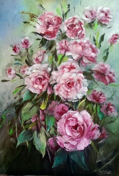 TABLEAU PEINTURE galerie art painting artiste fig comtemporain art tableaux Fleurs Peinture a l'huile  - Roses