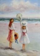 tableau personnages mer marine plage galerie creation art tableau jeux vacance peinture huile : Jeux de plage