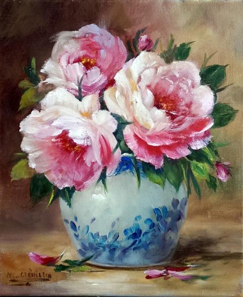 TABLEAU PEINTURE galerie original art roses fleurs décoration comte Fleurs Peinture a l'huile  - Les roses de l artiste