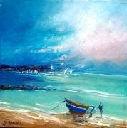 tableau marine balade mer plage vacances art galerie marine figuratif : Balade en mer