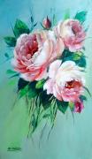 tableau fleurs galerie art comtemporain tableau roses lilas decorati creation peinture : Roses