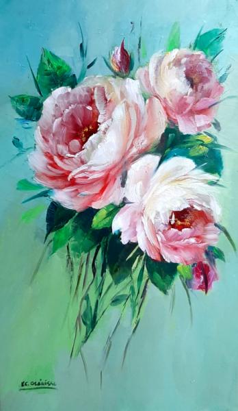 TABLEAU PEINTURE Galerie art comtemporain tableau roses lilas decorati creation peinture Fleurs Peinture a l'huile  - Roses