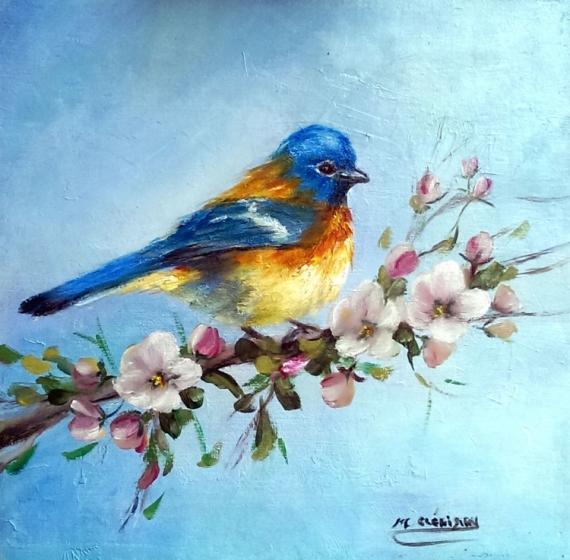 TABLEAU PEINTURE Flowers galerie crea painting artiste fig comtemporain art tableaux oiseaux Animaux Peinture a l'huile  - Pinson