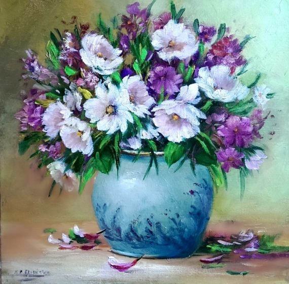TABLEAU PEINTURE fleurs galerie creat painting artiste fig comtemporain art Fleurs Peinture a l'huile  - Bouquet fleuri
