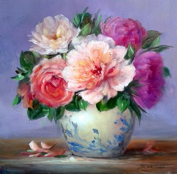 TABLEAU PEINTURE Flowers galerie crea painting artiste fig porcelaine figuratif romantique Fleurs Peinture a l'huile  - Flowers Pivoines