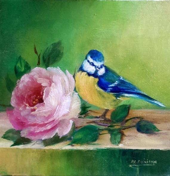 TABLEAU PEINTURE cadre oiseaux roses toile Animaux Peinture a l'huile  - La mésange et la rose