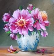 tableau fleurs flowers galerie crea painting artiste fig comtemporain art pivoines : Pivoines 2019