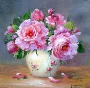 tableau fleurs roses peinture decoration cadre creation galerie : Bouquet de roses