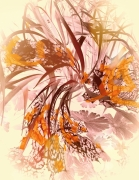 tableau abstrait feuillage fleurs oiseaux exotique : paon