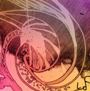 tableau abstrait coquille coquillage escargot spirale : coquille rouge
