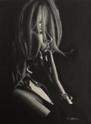 tableau personnages femme contrejour brune pensive : Pensive