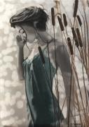tableau personnages femme etang eau roseaux : La Nymphe du Marais