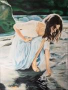 tableau personnages femme eau brune riviere : La fille sur le rocher