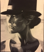tableau personnages femme chapeau lumiere mer : L'autre blonde au chapeau n°18
