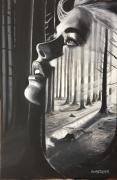 tableau personnages femme foret visage expressionnisme : BELLE AU BOIS REVANT