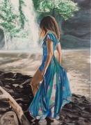 tableau personnages femme robe bleue cascade rochers : Chute d'eau
