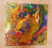 tableau abstrait visages coloration abstrait : Double Visages