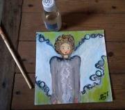 tableau personnages ange petite fille blouse : L'ange d'Ashley