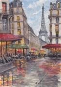 tableau architecture paris la pluie tour eiffel : PARIS