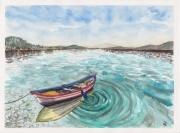 tableau paysages barque aquarelle bateau peinture la mer paysage ocean : LA BARQUE
