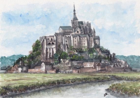 TABLEAU PEINTURE Mont-Saint-Michel Paysage architecture Paysages Aquarelle  - MONT-SAINT-MICHEL