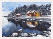 tableau paysages nuit hiver maison au lac paysage hivernale foyer : NUIT HIVER