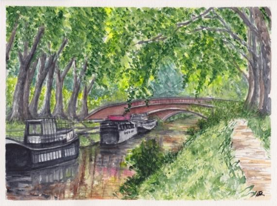 TABLEAU PEINTURE Canal du midi Toulouse Reflet Platanes Paysages Aquarelle  - CANAL DU MIDI