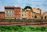 tableau architecture toulouse quai daurade maison ,a colombages haute garonne : TOULOUSE