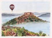 tableau paysages corde sur ciel sud ouest france montgolfiere tarn : CORDE-SUR-CIEL