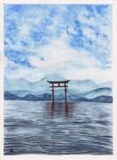 tableau paysages japon asie ocean art asiatique : TORII GATE HIROSHIMA