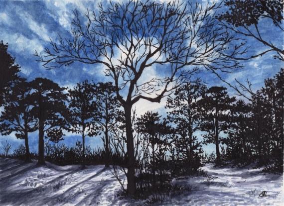 TABLEAU PEINTURE forêt nuit clair de lune Paysage hivernale encre de chine Paysages Aquarelle  - MOONLIGHT