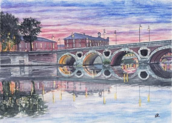 TABLEAU PEINTURE Toulouse pont Neuf coucher du soleil ville rose Paysages Aquarelle  - TOULOUSE ROSE