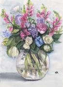 tableau fleurs vase de fleurs rose printemps : FLEURS