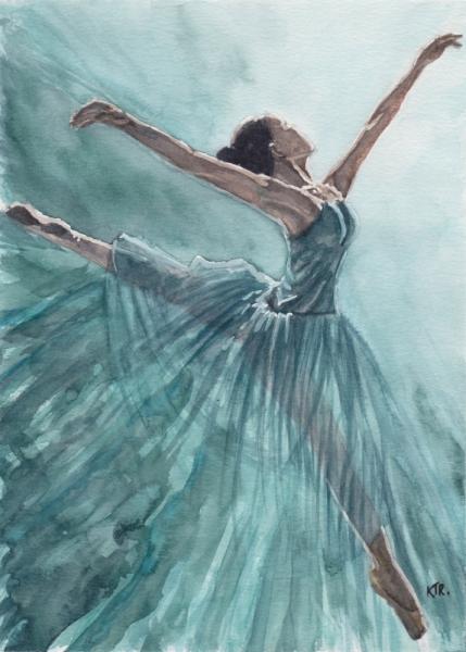 TABLEAU PEINTURE danseuse ballet ballerine peinture femme ballerine art Personnages Aquarelle  - ELLE