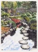 tableau paysages japon jardin japonais art asie jardin printemps : JARDIN JAPONAIS