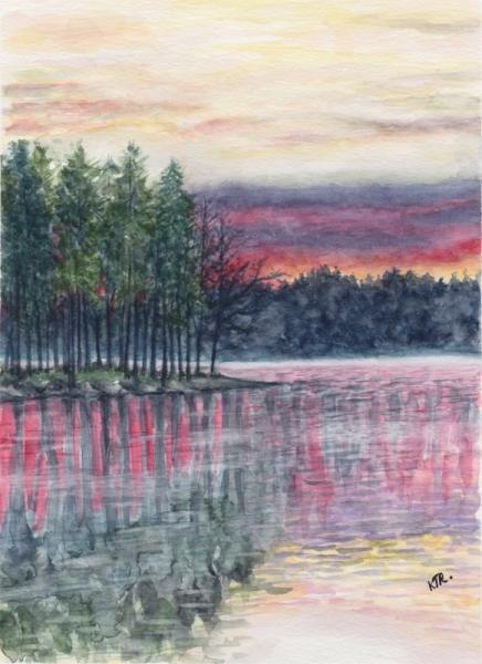 TABLEAU PEINTURE coucher du soleil bois reflet lac Paysages Aquarelle  - COUCHER DU SOLEIL