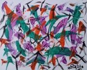 tableau abstrait papillons vent survole : Papillons....(M)....180681....