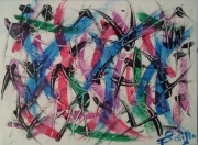 tableau abstrait hellebore bleu rouge : HELLEBORE