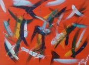 tableau abstrait amourettes rouge feu : Amourettes...(P)..180689