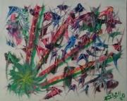 tableau abstrait burdane vert : Burdane..(M)...180698