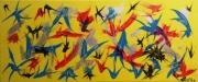 tableau abstrait jaune bleu : plumes dans le vent (MG..25.58)..180658...01.2018