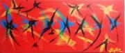 tableau abstrait hirondelles rouge bleu : Les Hirondelles.(MG..25.58)...180696..01.2018