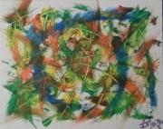 tableau abstrait pivalonc jaune vert : Pivalonc ...(M)..180657