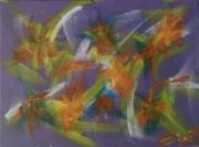 tableau abstrait abutilon jaune violet bleu : Abutilon..01.2018(P)....180699